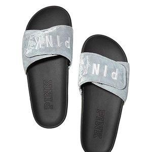 Victoria's Secret Cross Over Velour Slides Sandals